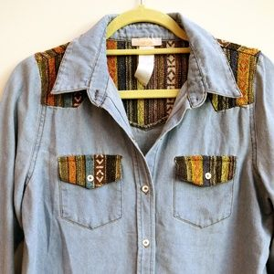 Tops - Denim Button Down Shirt with Aztek Patches Size S